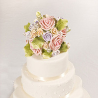 Cakes, ivory, yellow, pink, purple, cake, Roses, Wedding, Fondant, Diamonds, Let them eat cakes