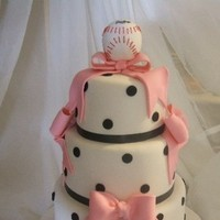 Cakes, pink, brown, cake, Wedding, Baseball, Eat, Them, Let, Bows