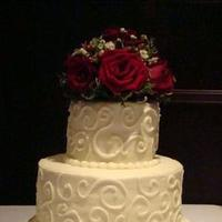 Cakes, ivory, red, cake, Round, Roses, Sweet cakes by rebecca