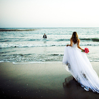 Wedding Dresses, Beach Wedding Dresses, Fashion, dress, Beach, Bride, Groom, Portrait, Ocean, Sunset, Trash the dress, Malibu, Trash, Running, Lisa franchot photography