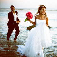 Wedding Dresses, Beach Wedding Dresses, Fashion, dress, Beach, Bride, Groom, Ocean, Sunset, Trash the dress, Malibu, Trash, Running, Lisa franchot photography