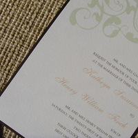 Stationery, ivory, brown, Invitations, Chocolate, Elegant, Sage, Soft, Jessicas design shop