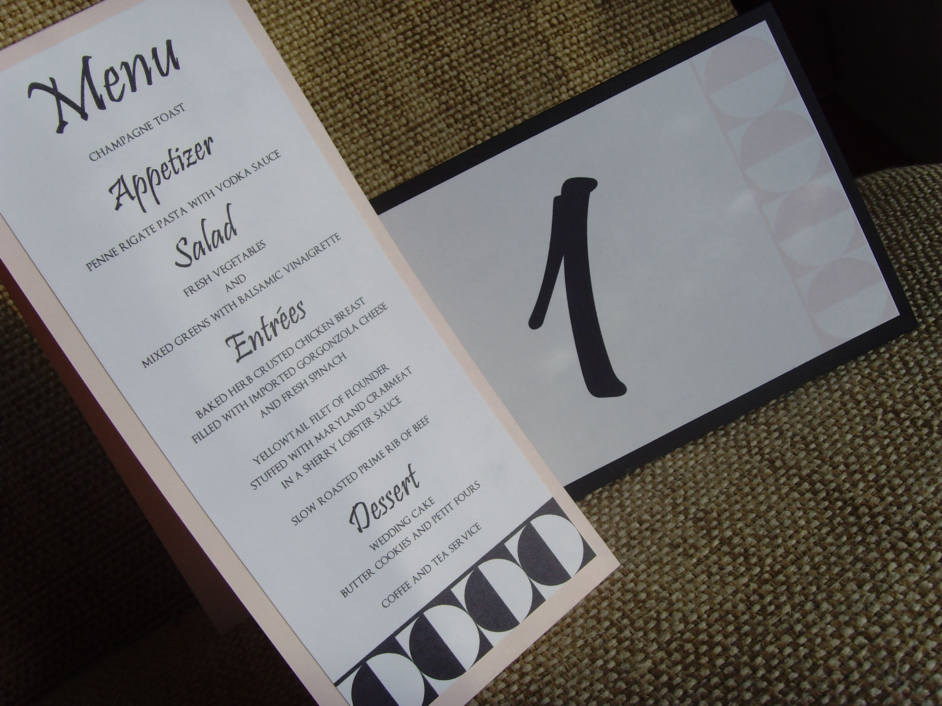 Stationery, pink, black, Menu, Wedding, Table, And, Number, Tented, Jessicas design shop