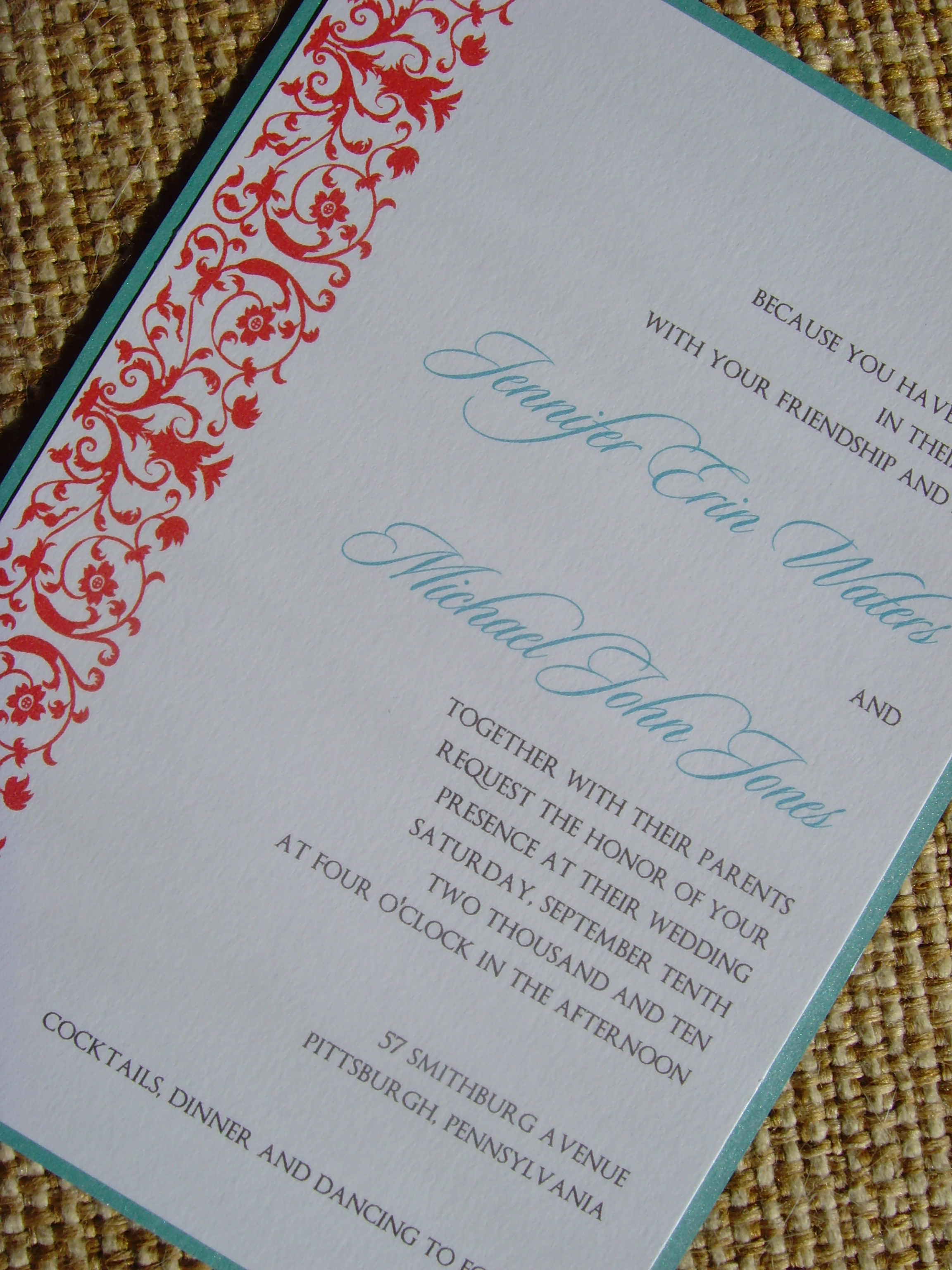 Stationery, red, Invitations, And, Turquoise, Jessicas design shop