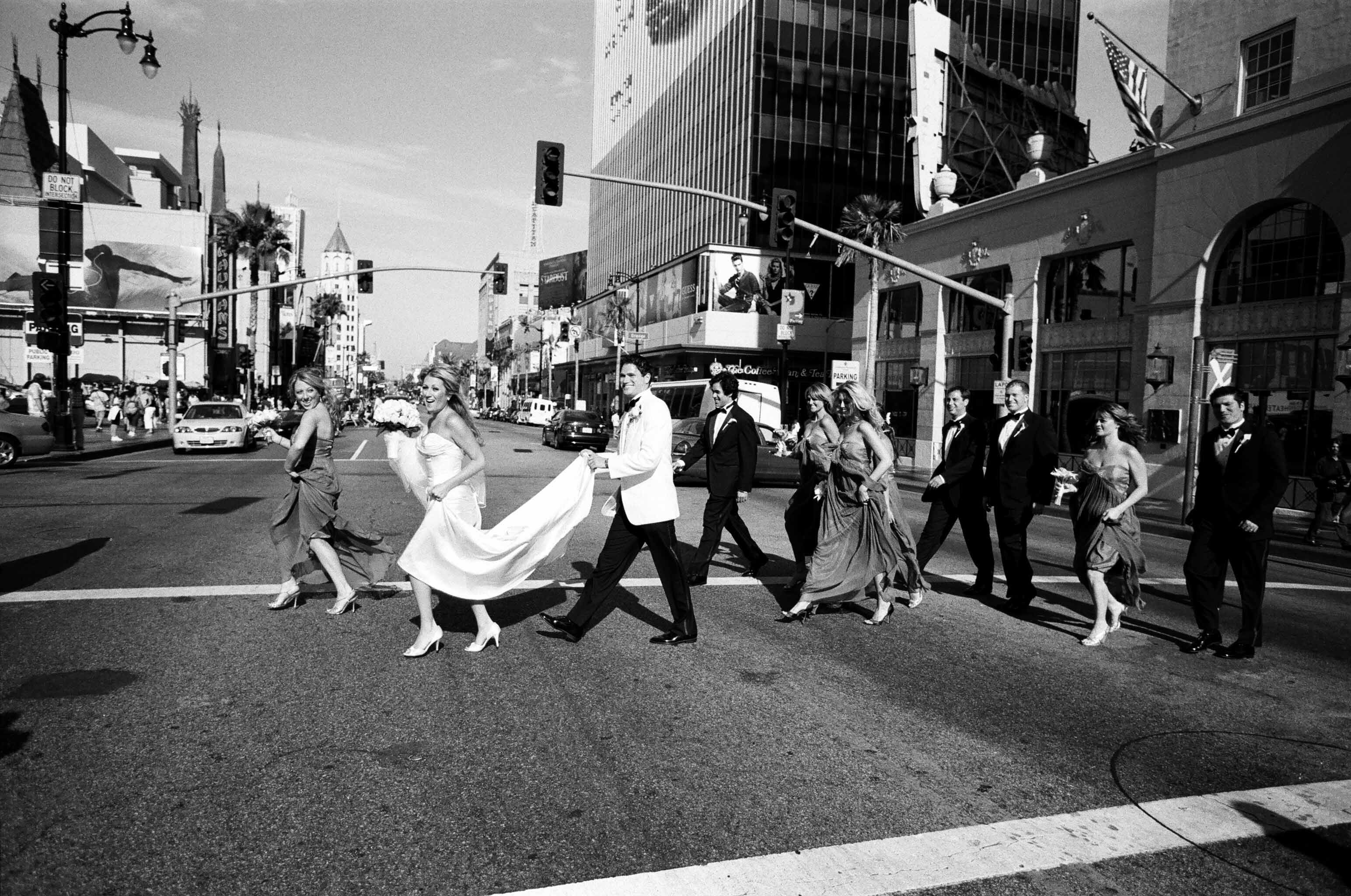 Wedding Dresses, Fashion, dress, Bride, Groom, Portrait, Candid, Running, Posed, Roosevelt, Hollywood boulevard