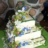 Cakes, blue, green, cake, Wedding, Orchids, Something spectacular custom floral design, Asian-theme