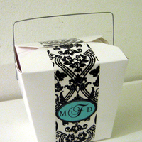 Monogram, Candy, Buffet, Aqua, Damask, Boxes