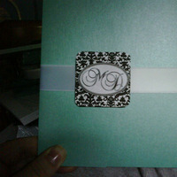 DIY, Stationery, Invitations, Aqua, Damask, Pocketfolds
