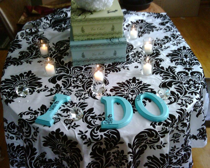 Cake table, Aqua, Damask