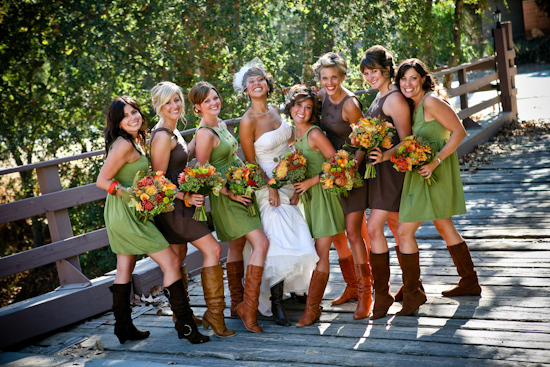 Flowers & Decor, Wedding Dresses, Shoes, Rustic Vineyard Wedding Dresses, Fashion, orange, green, brown, dress, Rustic, Flowers, Canyon, Adam, Hope, Matthew morgan photography, Southern weddings, Bridemaids boots, Trabuco canyon, rustic wedding dresses, Flower Wedding Dresses