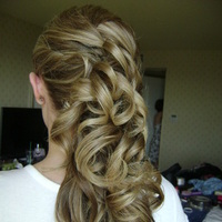 Beauty, Curly Hair, Hair, Curly, Blonde, Side, Ponytail, Half-up-do, Swept