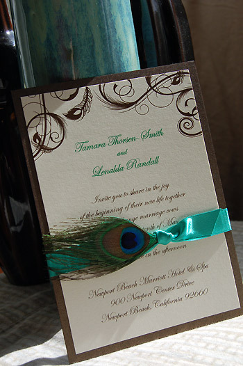 blue, green, brown, Teal, Ribbon, Couture, Aqua, Peacock, Espresso, Luxury, Peacock feathers, Paper olive, Custom wedding invitation, Custom wedding invitations, Shimmer paper, Paper couture