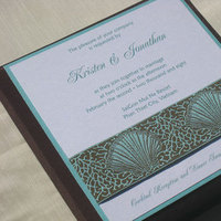 white, brown, blue, Aqua, Seashell, Chocolate, Ribbon, Couture, Cream, Ocean, Shell, Seashells, Paper olive, Custom wedding invitation, Destination wedding invitations, Beach Weddings, Silk box, Thai silk box, Beach-themed wedding invitations