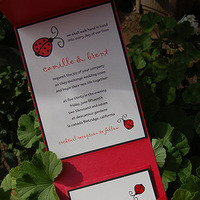 white, red, black, Modern, Modern Wedding Invitations, Ribbon, Couture, Chic, Paper olive, Custom wedding invitations, Lady bug, Pocket folder