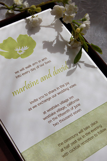 Flowers & Decor, Stationery, green, brown, Vineyard Wedding Invitations, Invitations, Lime, Flower, Wedding, Chocolate, Couture, Silk, Poppy, Luxury, Paper olive, Custom wedding invitation, Silk box, Thai silk box, Boxed invitations