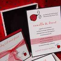 Stationery, Paper, white, red, black, Modern, Invitations, Wedding, Couture, Chic, Polka dot, Olive, Taffeta, Paper olive, Custom wedding invitation, Boxed invitations, Lady bug, Polka dots, Lining