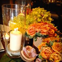 Reception, Flowers & Decor, yellow, orange, Centerpieces, Modern, Flowers, Modern Wedding Flowers & Decor, Centerpiece, Wedding, Tropical