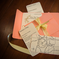 DIY, Stationery, yellow, Invitations, Coral, Salmon, Pocketfolds, Embossing