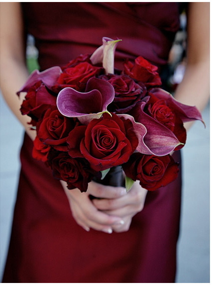 red, Bridesmaid Bouquets, Winter Wedding Flowers & Decor