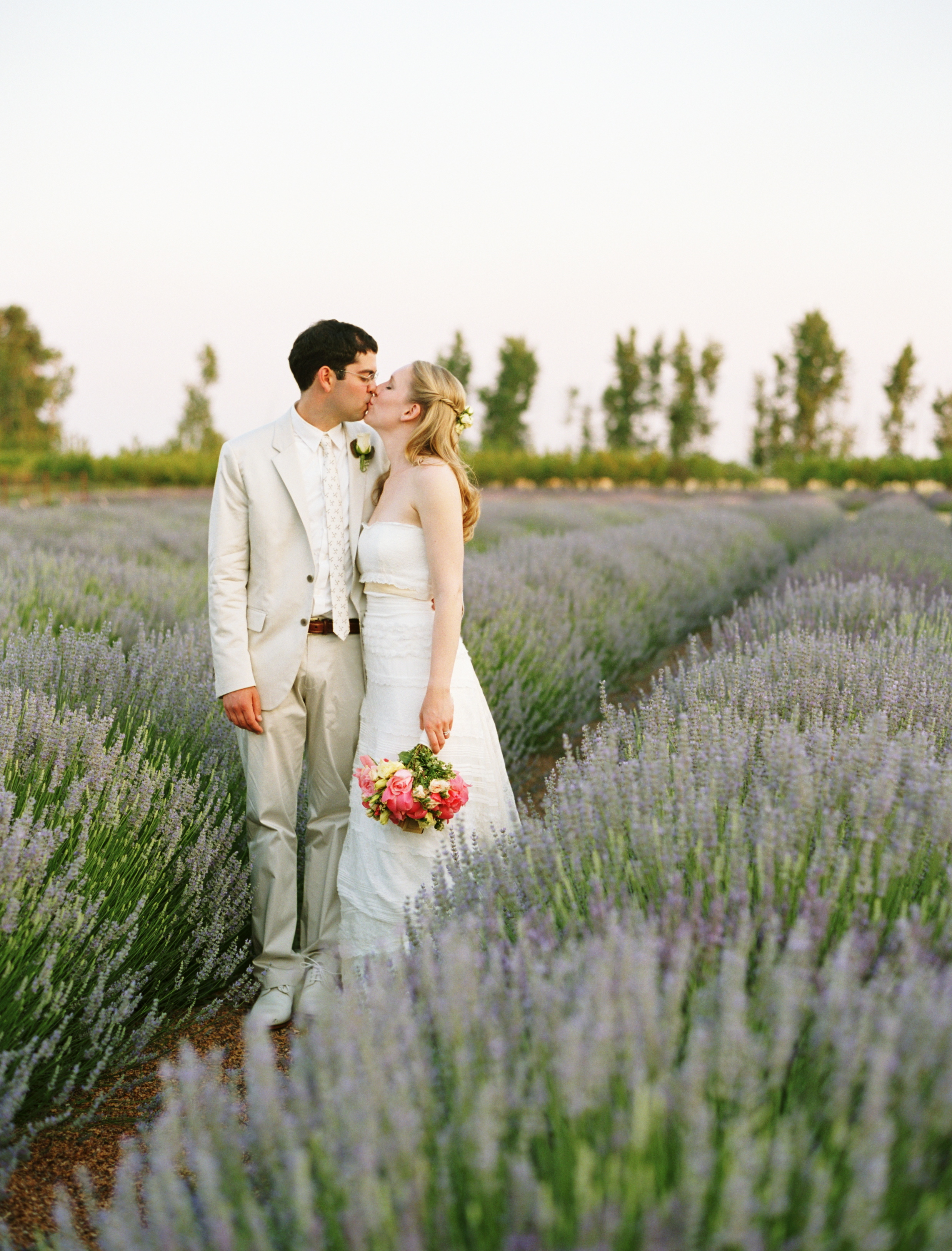 white, pink, Wedding, Lavender, Farm, Kissing couple
