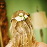 white, pink, Wedding, Farm, Bridal attire, Flowers in hair