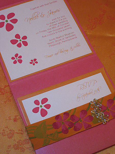 Flowers & Decor, Stationery, orange, pink, green, Invitations, Flower, Blossom, Ribbon, Couture, Petals, Silk, Luxury, Paper olive, Custom wedding invitation, Pocket folder, Fuscia