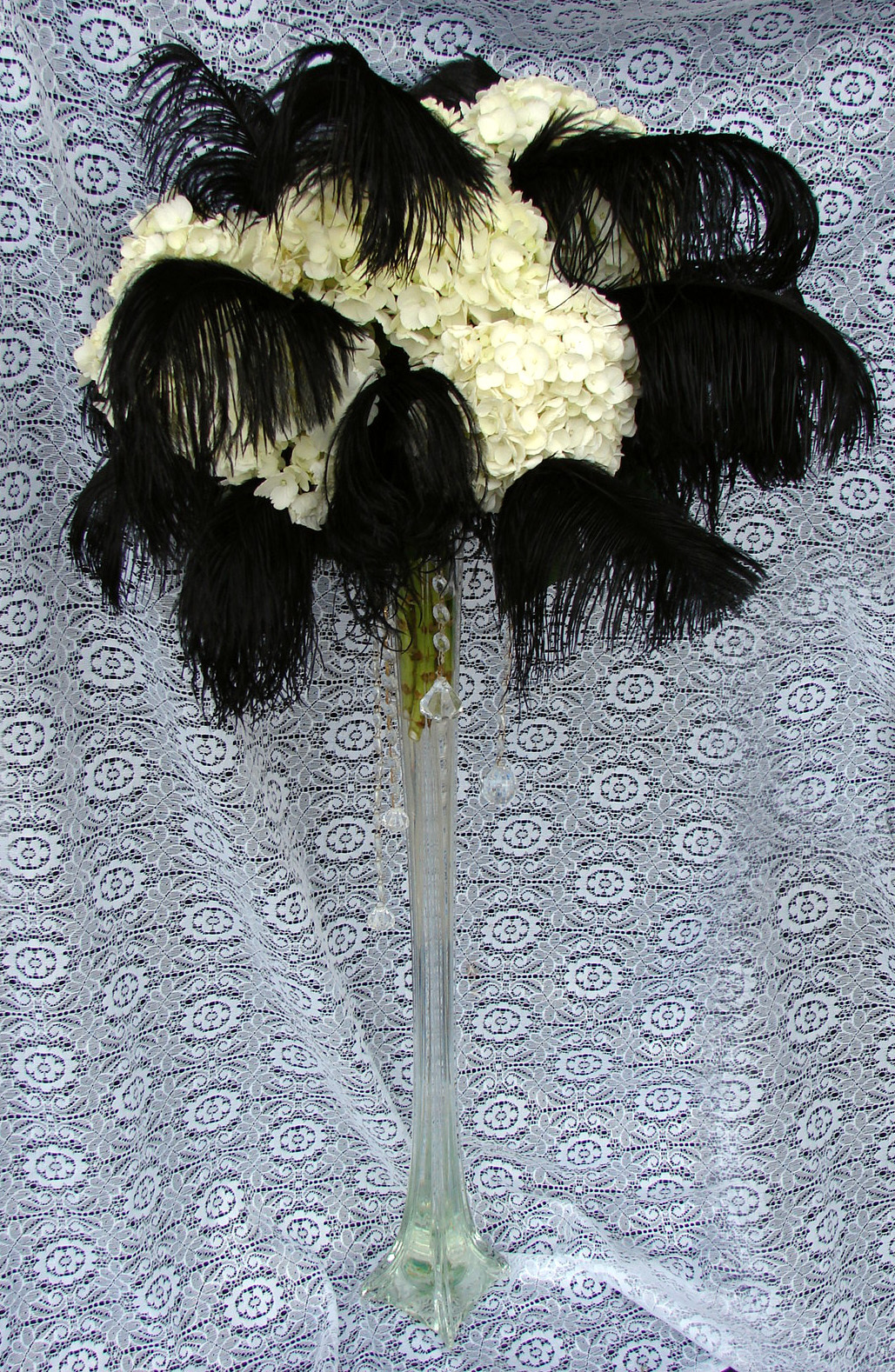 Beauty, Flowers & Decor, white, black, Feathers, Centerpieces, Flowers, Centerpiece, Tall, Hydrangea, Crystals, Gardenpartytogocom