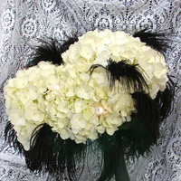 Beauty, Flowers & Decor, white, black, Feathers, Bride Bouquets, Flowers, Bouquet, Hydrangea, Bling, Crystals, Gardenpartytogocom