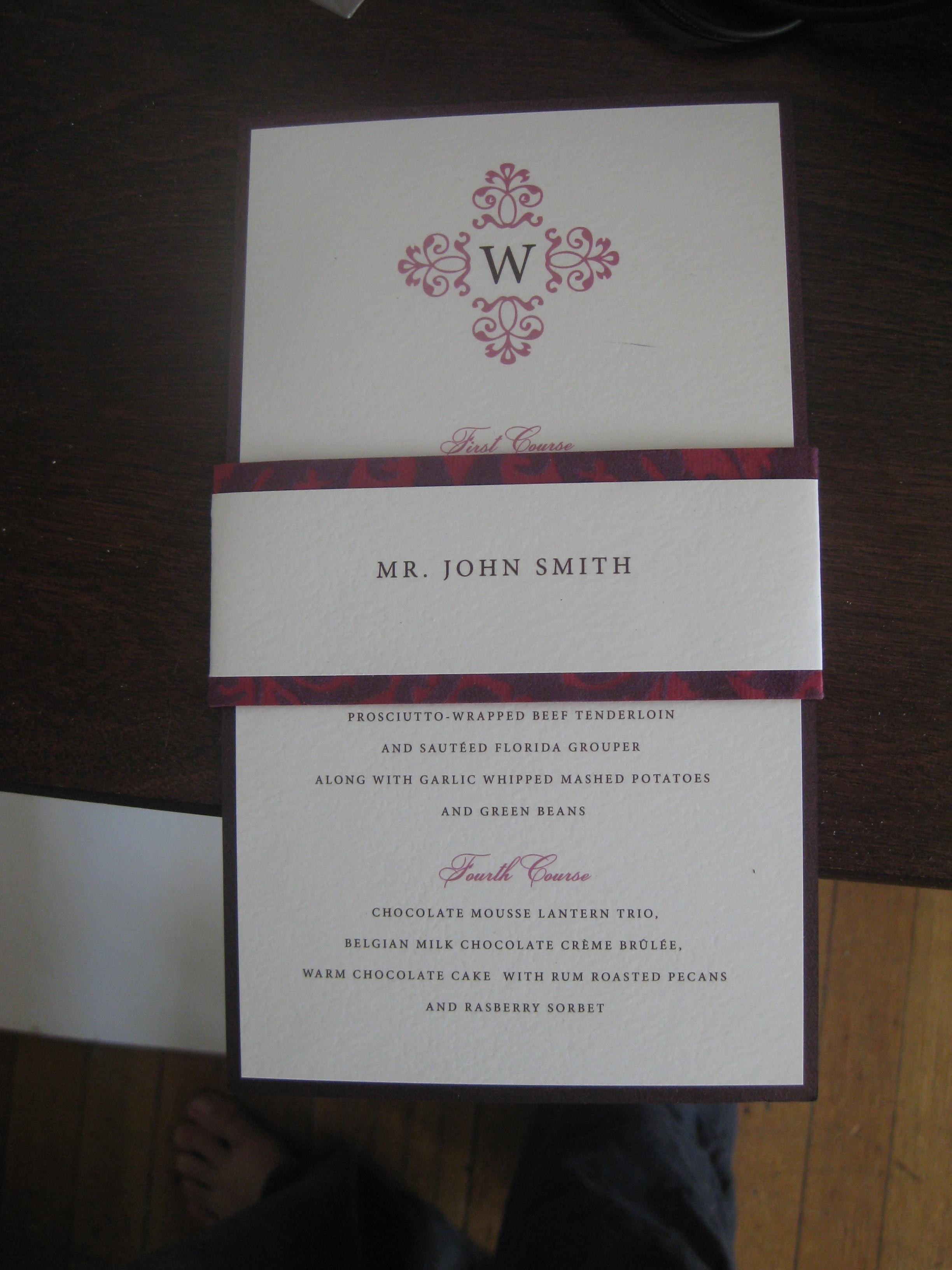 Reception, Flowers & Decor, pink, purple, Menu, Place card