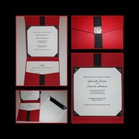 Stationery, red, invitation, Invitations, Wedding, Couture, Designs, Pocket, Formal, T, Louise