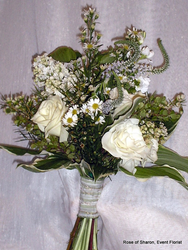 white, Bouquet, hand tied, Rose of sharon, event florist
