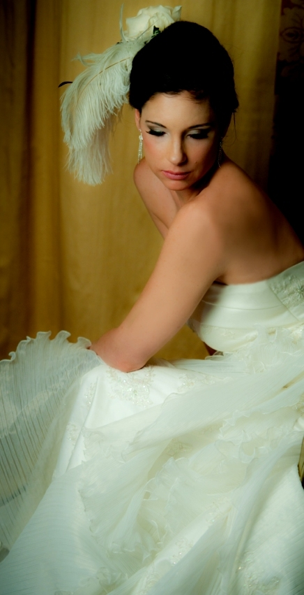 Beauty, Makeup, Feathers, Gown, Hair, Pearls, Salon studio 2000