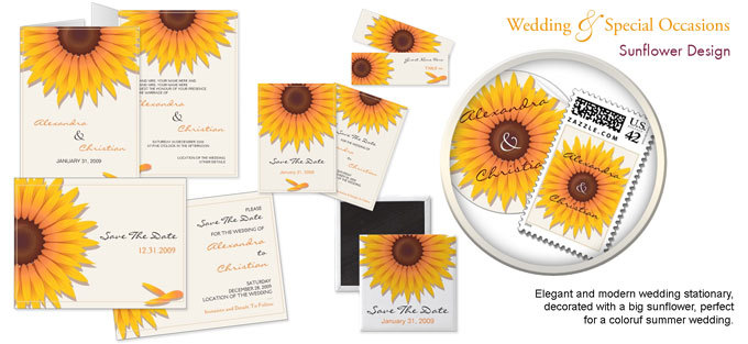 Stationery, invitation, Announcements, Invitations, Wedding, Postcard, Unique, The, Design, Save, Date, Card, Announcement, Postage, Sunflower, Ruxique, Ruxiques little art shop
