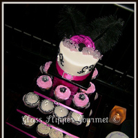 Cakes, pink, black, cake, Cupcakes, Fondant, Hot, Bling, Glass slipper gourmet, Feathes
