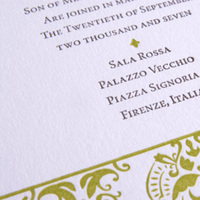 Stationery, green, brown, invitation, Invitations, Letterpress, Italian, Flair necessities