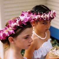 Flower Girls, Destinations, orange, blue, Destination Weddings, Hawaii, Beach, Wedding, Colorful, Destination wedding, Hawaiian wedding, Kuaui