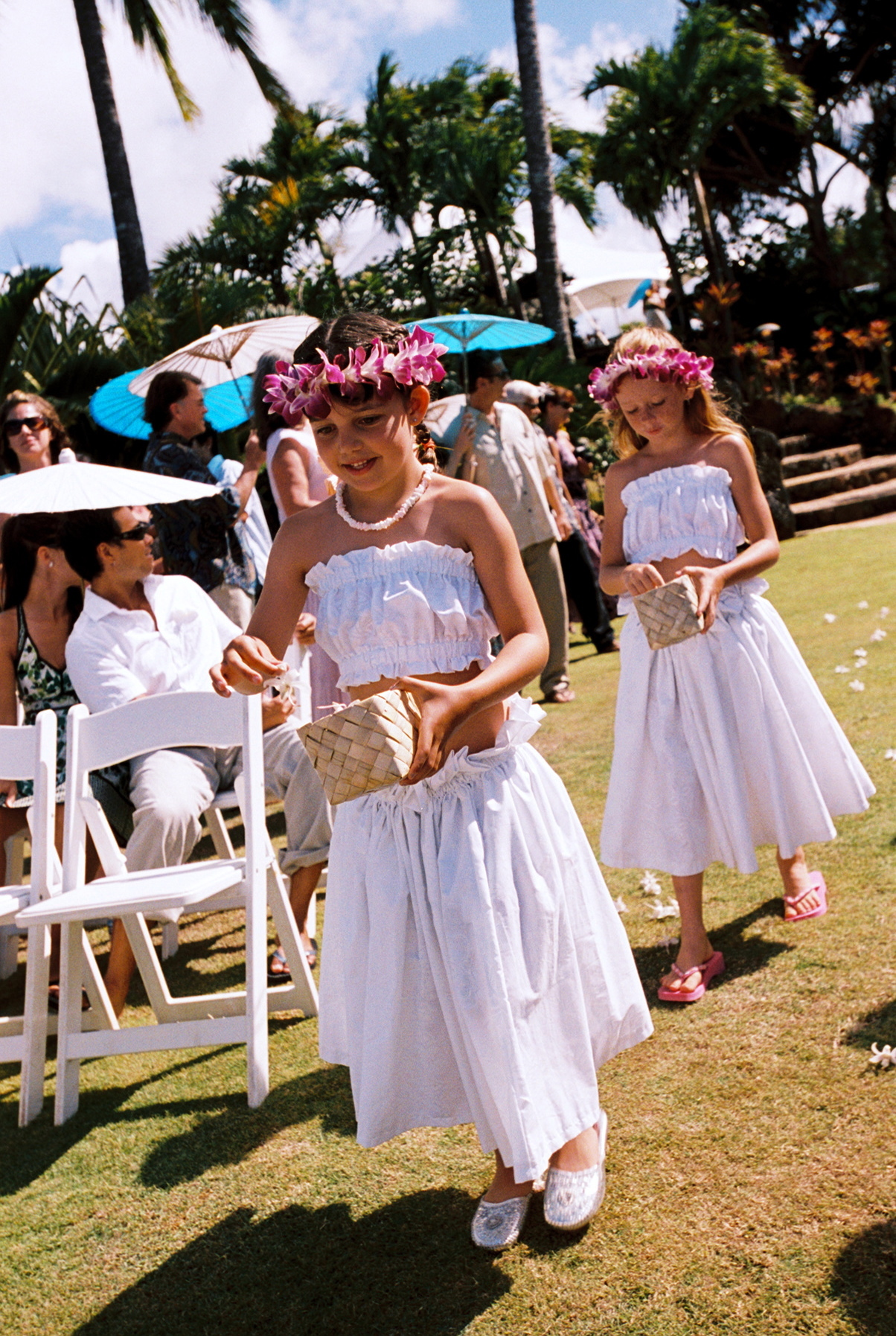 Ceremony, Flowers & Decor, Flower Girls, Destinations, orange, blue, Destination Weddings, Hawaii, Beach, Beach Wedding Flowers & Decor, Wedding, Colorful, Destination wedding, Hawaiian wedding, Kuaui