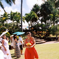 Ceremony, Flowers & Decor, Destinations, orange, blue, Destination Weddings, Hawaii, Beach, Beach Wedding Flowers & Decor, Bouquet, Wedding, Bridesmaid, Colorful, Destination wedding, Hawaiian wedding, Kuaui