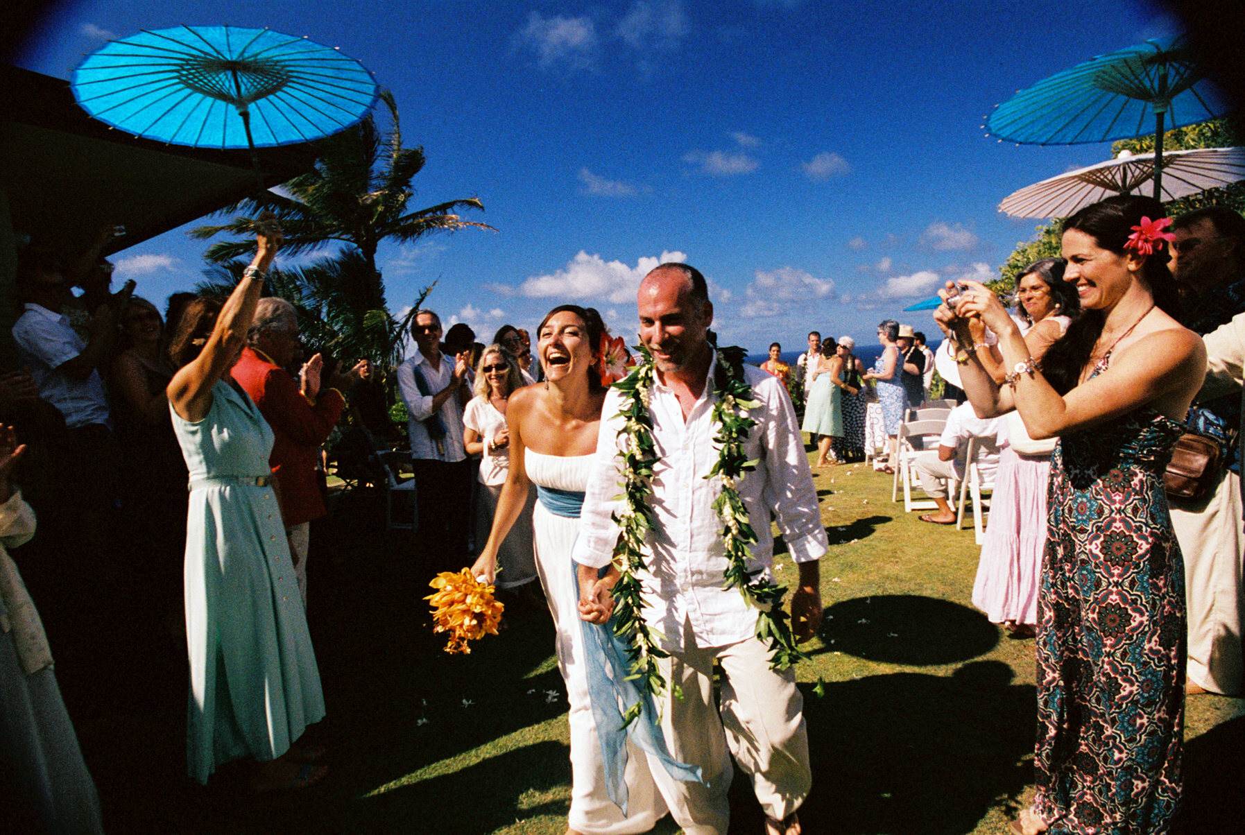 Ceremony, Flowers & Decor, Destinations, orange, blue, Destination Weddings, Hawaii, Beach, Beach Wedding Flowers & Decor, Wedding, Colorful, Destination wedding, Hawaiian wedding, Kuaui