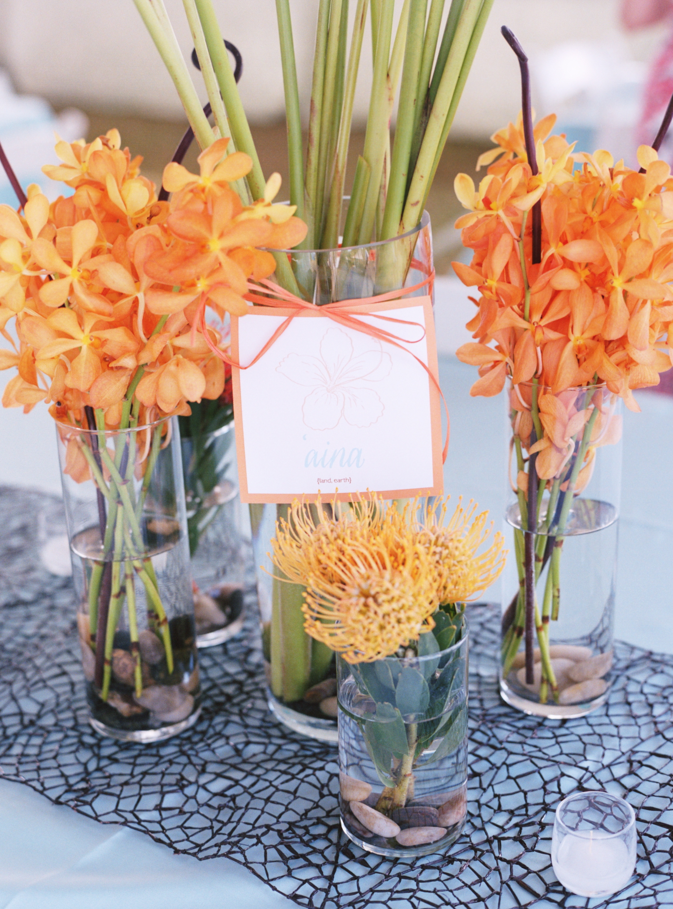 orange, blue, Beach Wedding Flowers & Decor