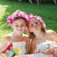 Reception, Flowers & Decor, Flower Girls, Destinations, orange, blue, Destination Weddings, Hawaii, Beach, Beach Wedding Flowers & Decor, Wedding, Colorful, Destination wedding, Hawaiian wedding, Kuaui