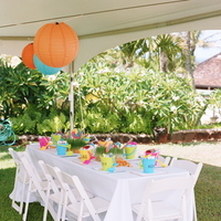 Reception, Flowers & Decor, Decor, Destinations, orange, blue, Destination Weddings, Hawaii, Beach, Beach Wedding Flowers & Decor, Wedding, Colorful, Destination wedding, Hawaiian wedding, Kuaui