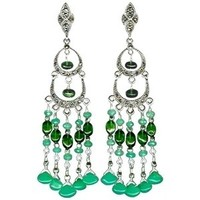 Jewelry, green, Earrings, Bride, Victorian, Chandelier, Glamorosi, Sterling silver, Semiprecious, Marcasite, Chrysoprase, Chrome, Diopside