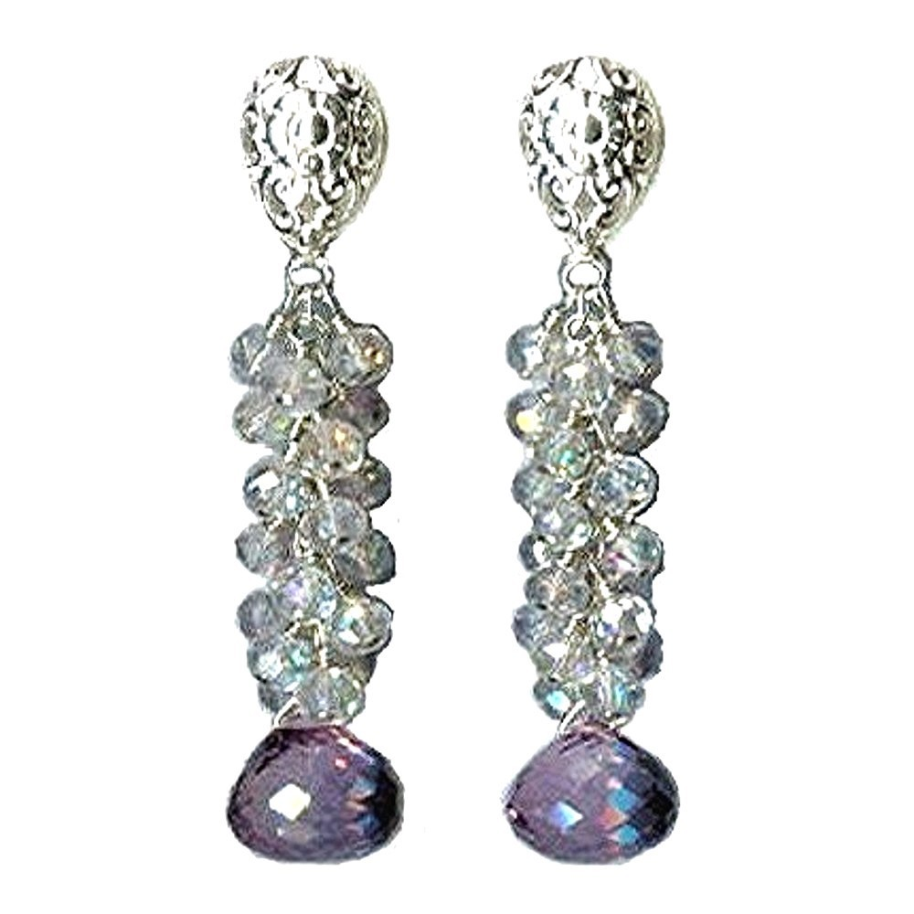 Jewelry, white, pink, Earrings, Bride, Cascade, Topaz, Amethyst, Glamorosi, Sterling silver, Mystic topaz