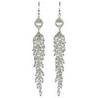 Jewelry, white, Earrings, Long, Elegant, Cascade, Freshwater pearls, Glamorosi, Sterling silver, Shoulder dusters