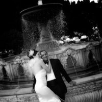 Bride, Groom, Fountain, Black and white, Kissing, Bw, Sausalito, Michael muramoto photography