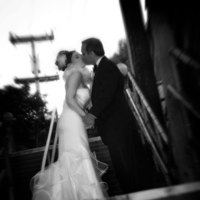 Bride, Groom, Black and white, Bw, Sausalito, Stairway, Steps, Michael muramoto photography