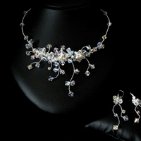 Jewelry, silver, Earrings, Necklace, Swarovski, Sterling, Bijoux design mara haute couture bridal