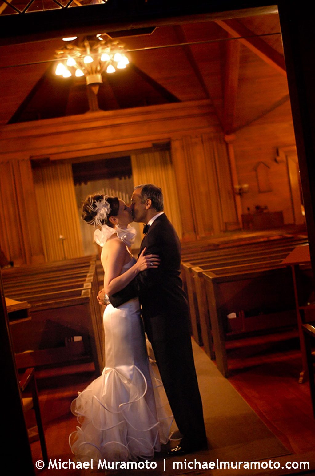 Bride, Groom, Church, Kissing, Sausalito, Evening, Michael muramoto photography
