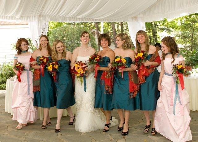 Flowers & Decor, Bridesmaids, Bridesmaids Dresses, Wedding Dresses, Fashion, dress, Bridesmaid Bouquets, Flowers, Teal, Shawls, Pashminas, Flower Wedding Dresses